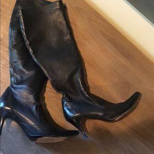 Cole Haan Black Leather Knee High Heel Boots 7